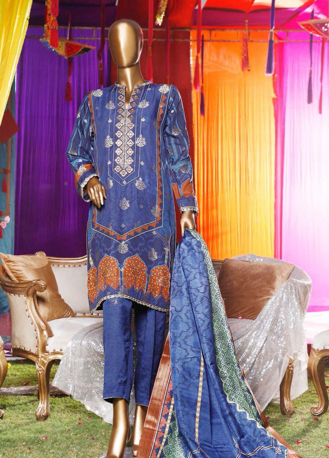 Turkish Jacquard by HZ Embroidered Viscose Unstitched 3 Piece Suit HZ20TV D-03-B - Festive Collection