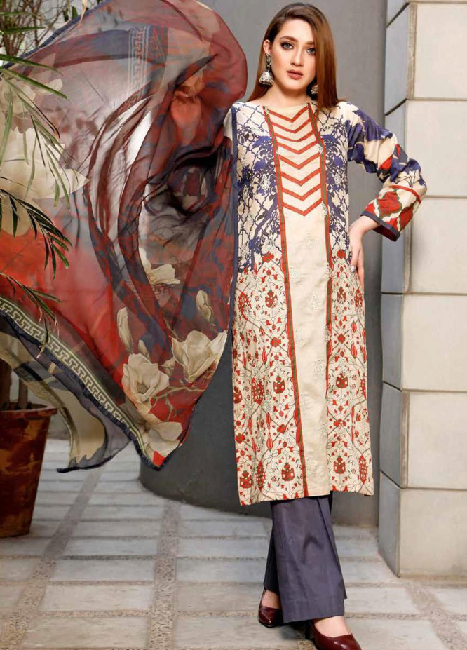 Infinity by Riaz Arts Embroidered Lawn Unstitched 3 Piece Suit IRA20-L5 22C - Summer Collection