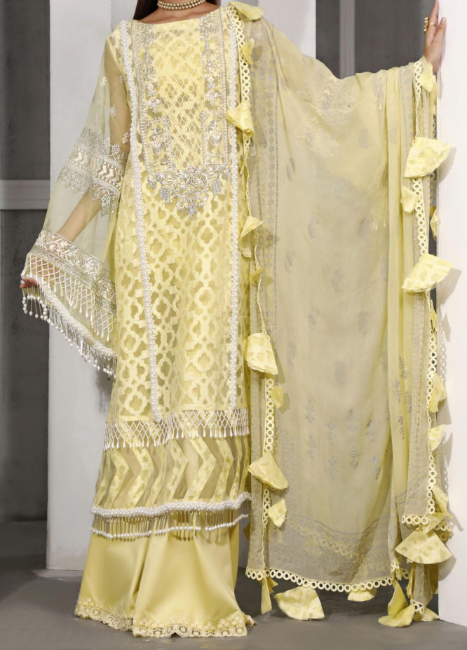 Ethnic Bloom by Ittehad Textiles Embroidered Organza Unstitched 3 Piece Suit ITD20W 1 Laser Lemon - Winter Collection