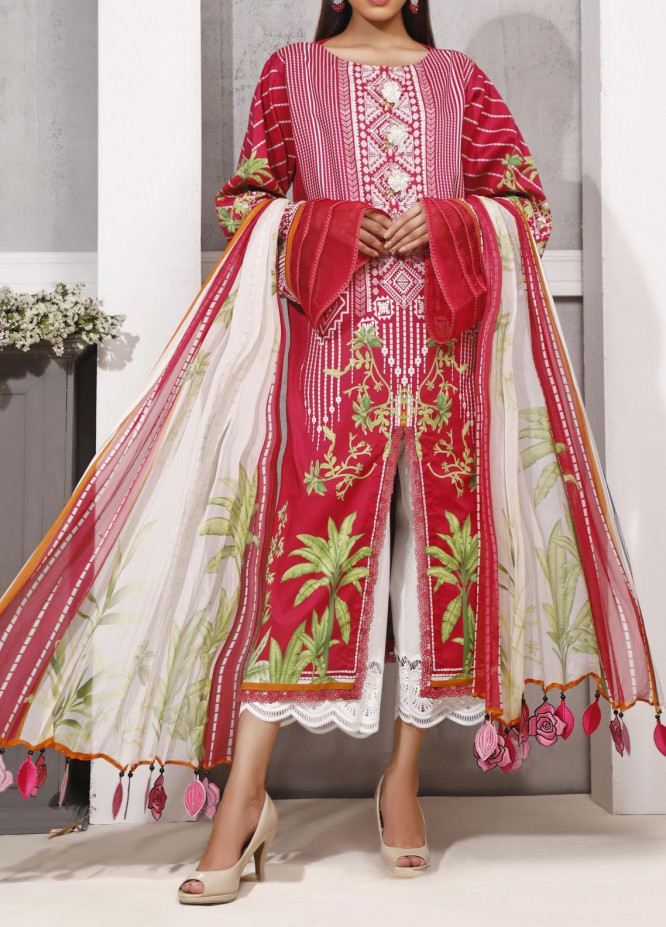 Ethnic Bloom by Ittehad Textiles Printed Cambric Unstitched 3 Piece Suit ITD20W 10 Cool Melon - Winter Collection