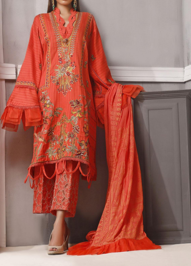 Ethnic Bloom by Ittehad Textiles Embroidered Jacquard Unstitched 3 Piece Suit ITD20W 6 Wild Strawberry - Winter Collection