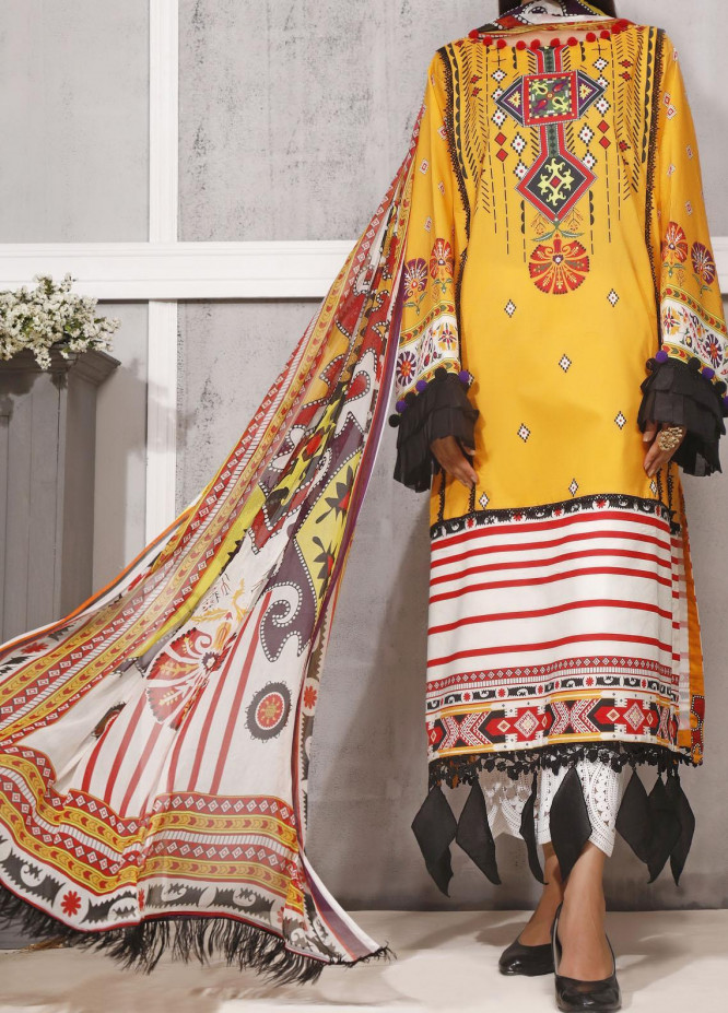 Ethnic Bloom by Ittehad Textiles Printed Cambric Unstitched 3 Piece Suit ITD20W 9 Tuscan Sun - Winter Collection