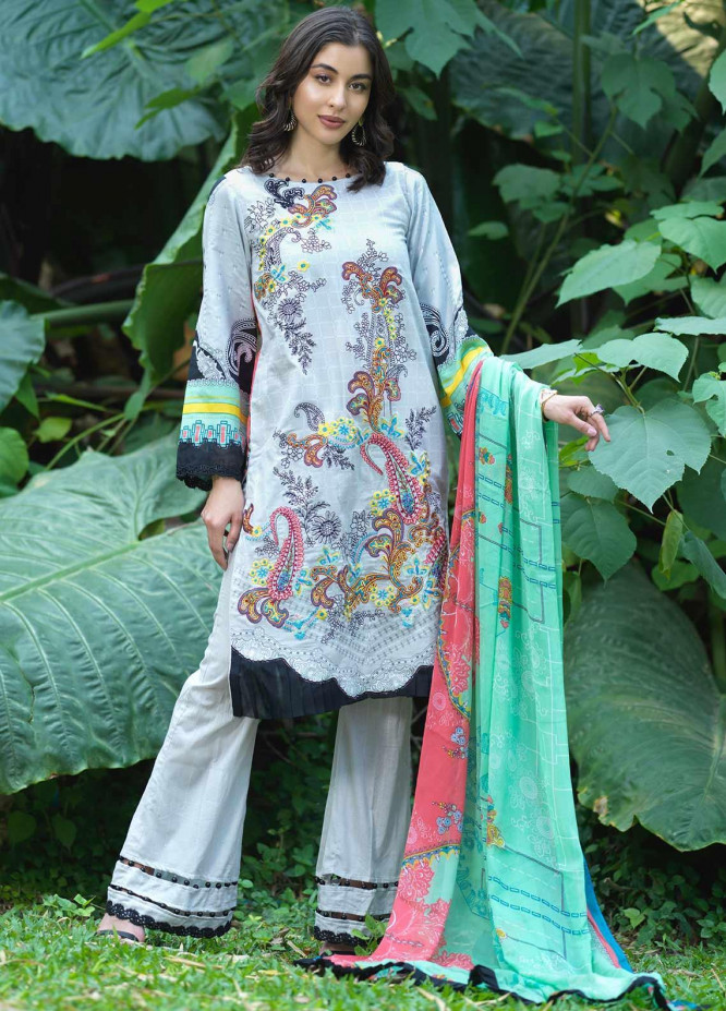 Ittehad Textiles Embroidered Lawn Unstitched 3 Piece Suit ITD20DG FLEUR - Summer Collection