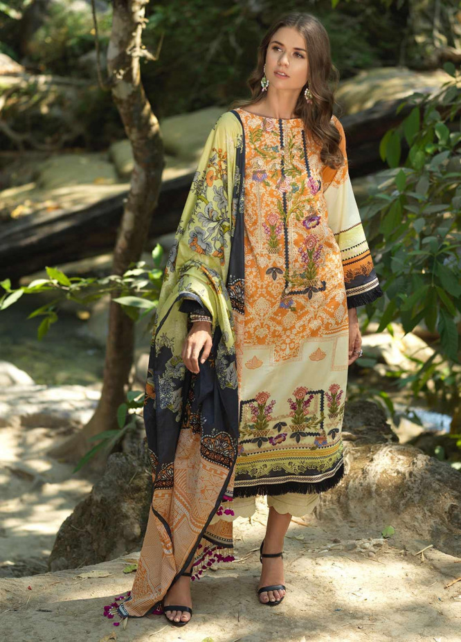 Ittehad Textiles Embroidered Lawn Unstitched 3 Piece Suit ITD20DG ORANGEY - Summer Collection