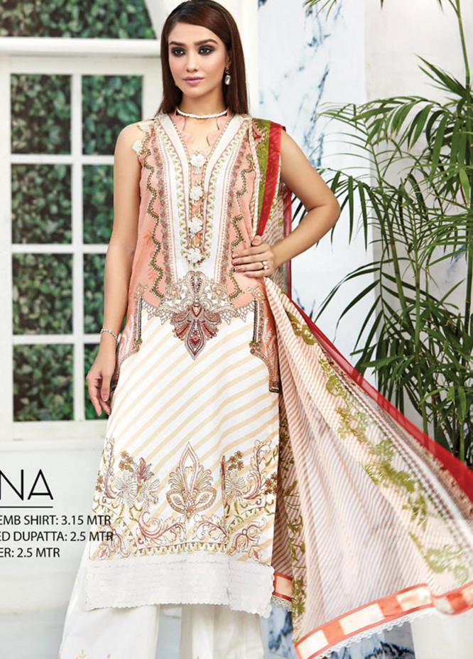 Ittehad Textiles Embroidered Lawn Unstitched 3 Piece Suit ITD20F 24 Ghina - Spring / Summer Collection