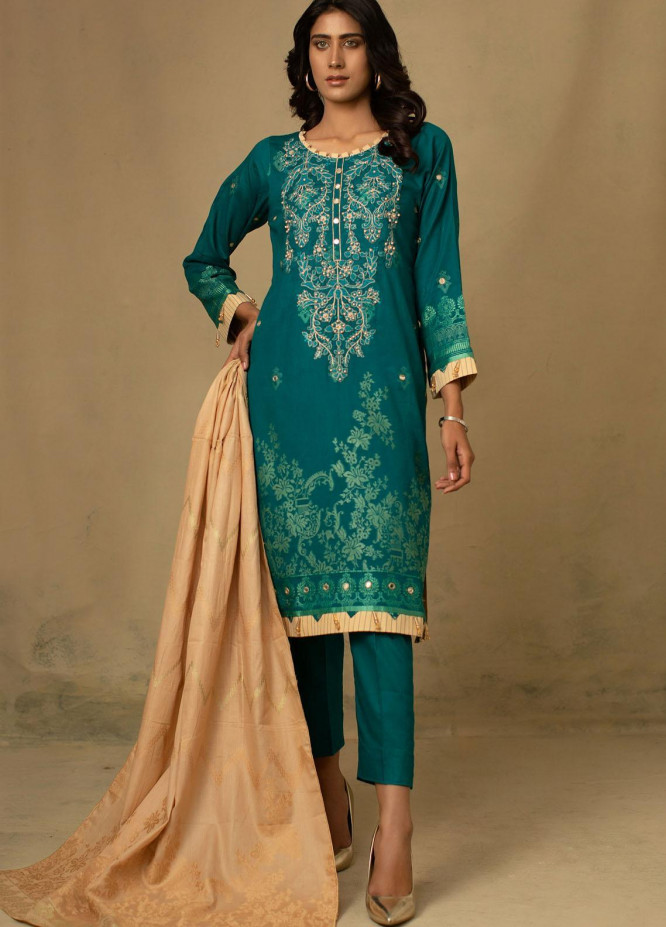 Jahan by AB Textiles Embroidered Jacquard Unstitched 3 Piece Suit AB21JCR 01 Sarcelle - Casual Collection
