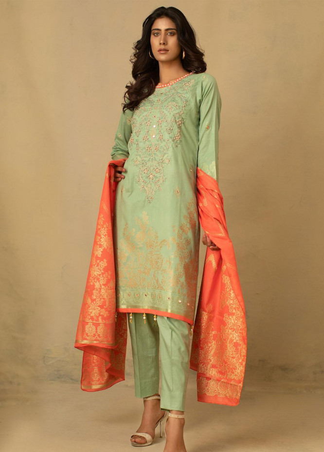 Jahan by AB Textiles Embroidered Jacquard Unstitched 3 Piece Suit AB21JCR 04 Vert Clair - Casual Collection