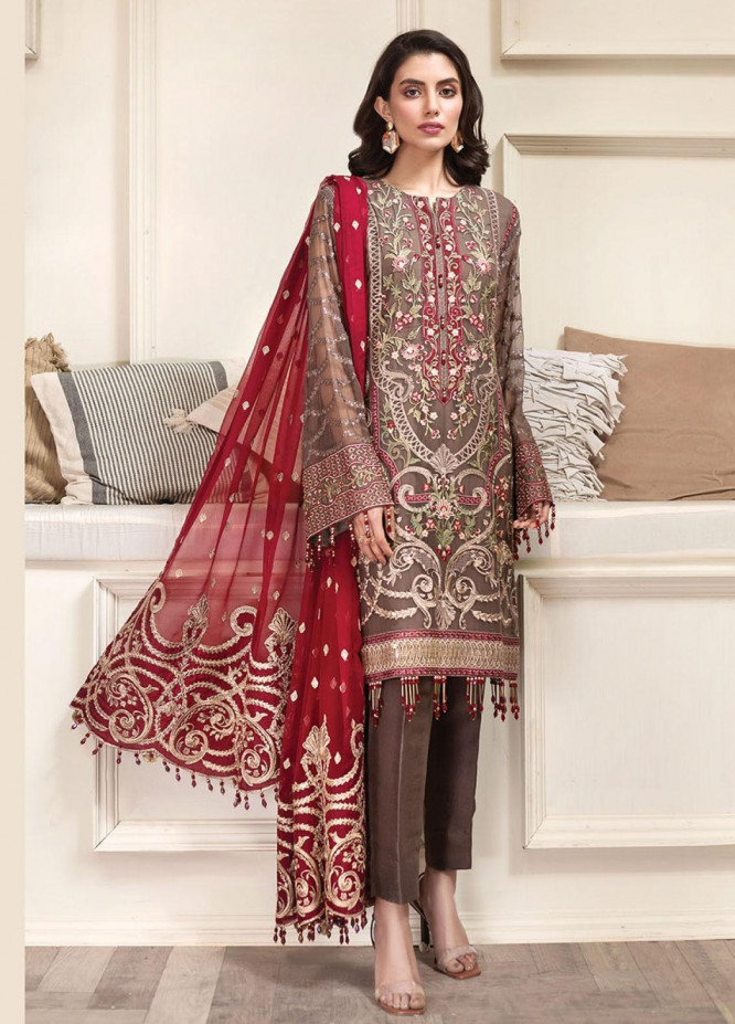 Jazmin Embroidered Chiffon Unstitched 3 Piece Suit JZ20AL 10 - Luxury Collection