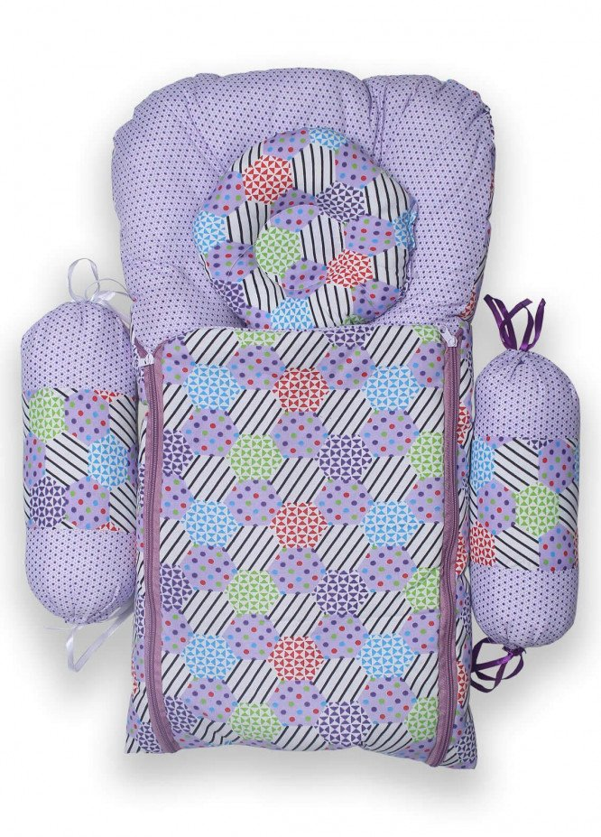 Plush Mink Poly Fiber Carrier Set 4 Pieces PEEKABOO CARRIER SET WITH BOLSTERS (4 Pieces Set) Purple - Baby Products