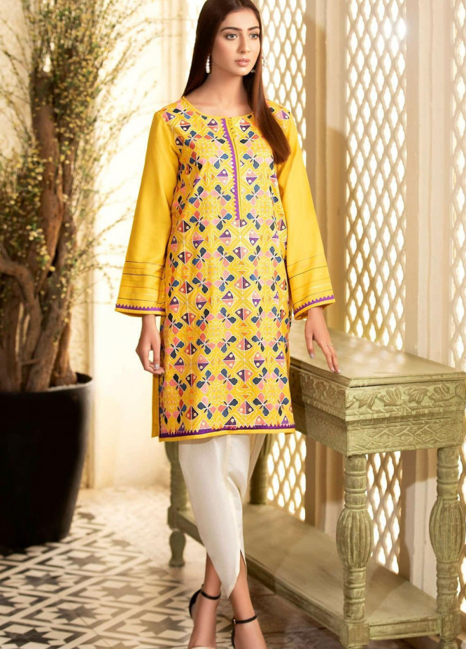 Kross Kulture Embroidered Viscose Stitched Kurtis KB-20691 Yellow
