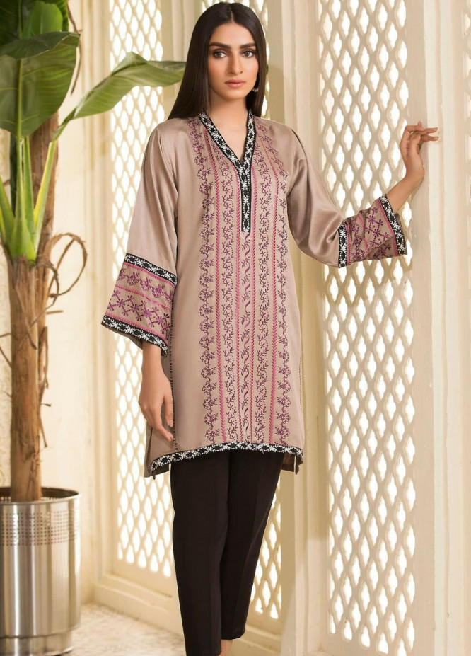 Kross Kulture Embroidered Cotton Stitched Kurtis KB-20743 Beige