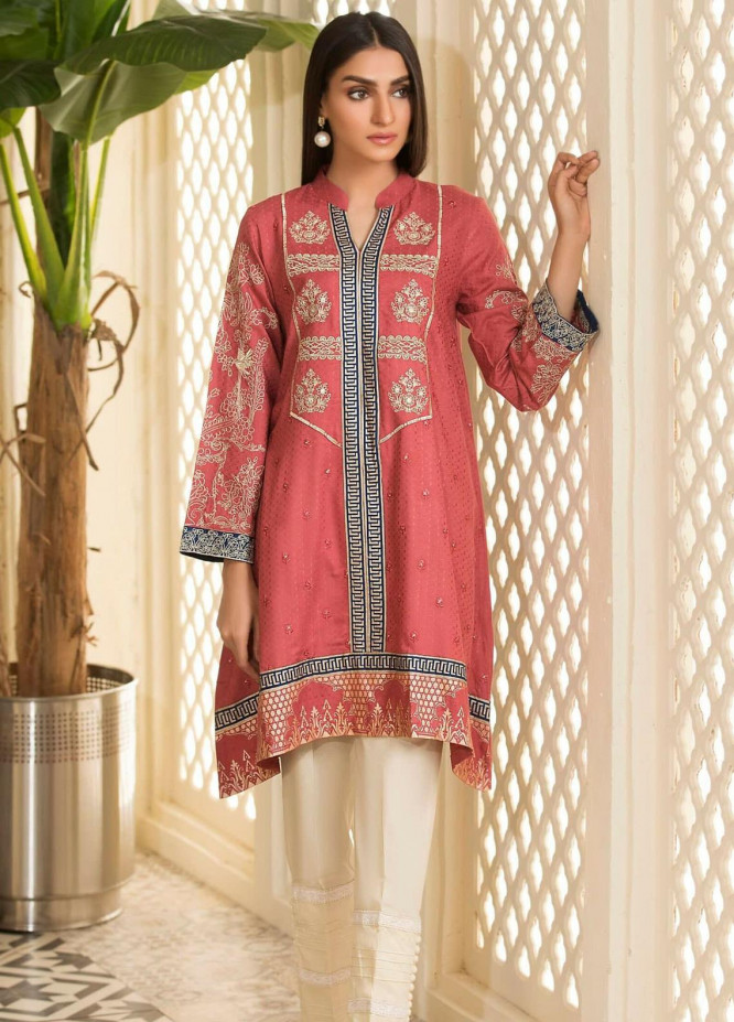 Kross Kulture Embroidered Cotton Stitched Kurtis KE-20428 Pink