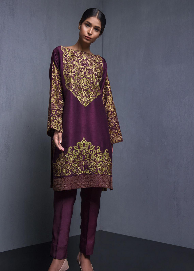 Kuli Jume Embroidered Raw Silk Stitched 2 Piece Suit Mulberry Wine