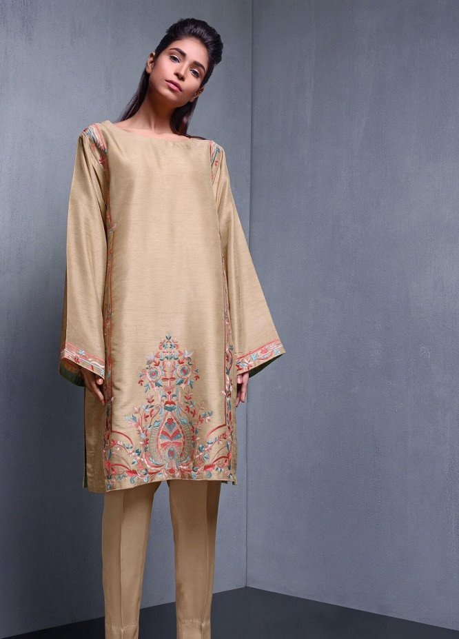 Kuli Jume Embroidered Raw Silk Stitched 2 Piece Suit Toasted Sand