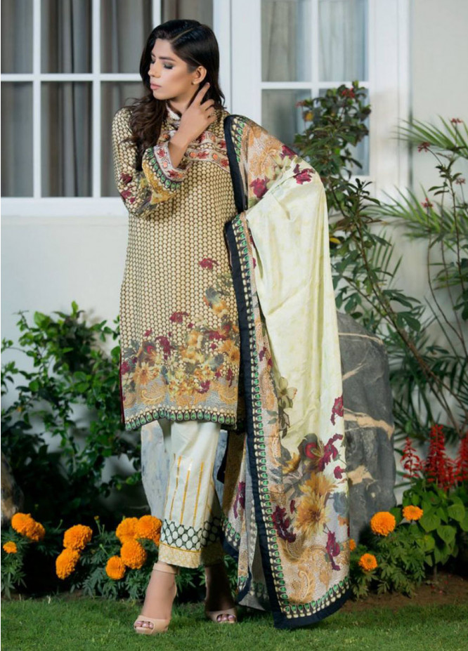 ZS Textile Embroidered Silk Unstitched 3 Piece Suit MA17W 02