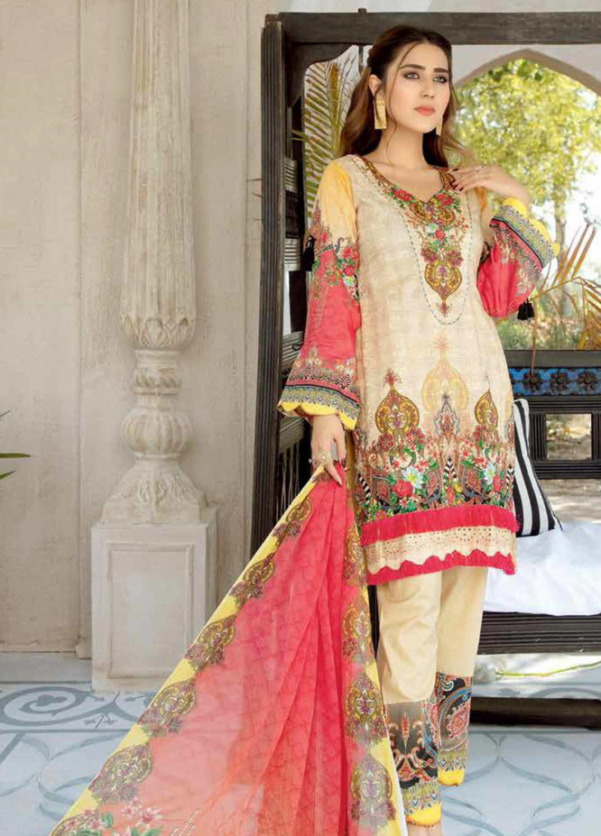 Mahjabeen by Riaz Arts Embroidered Lawn Unstitched 3 Piece Suit RA20MJ D-031 - Spring / Summer Collection