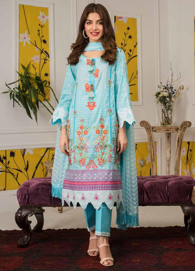 Mahnoor by Al Zohaib Embroidered Lawn Unstitched 3 Piece Suit M20AZ 6-B - Spring / Summer Collection
