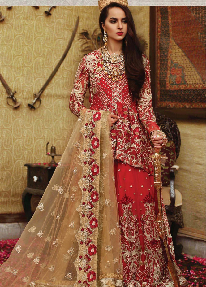 Majestic By EmbRoyal Embroidered Chiffon Unstitched 3 Piece Suit EMB19WQ 10 SCARLET QUEEN - Luxury Collection