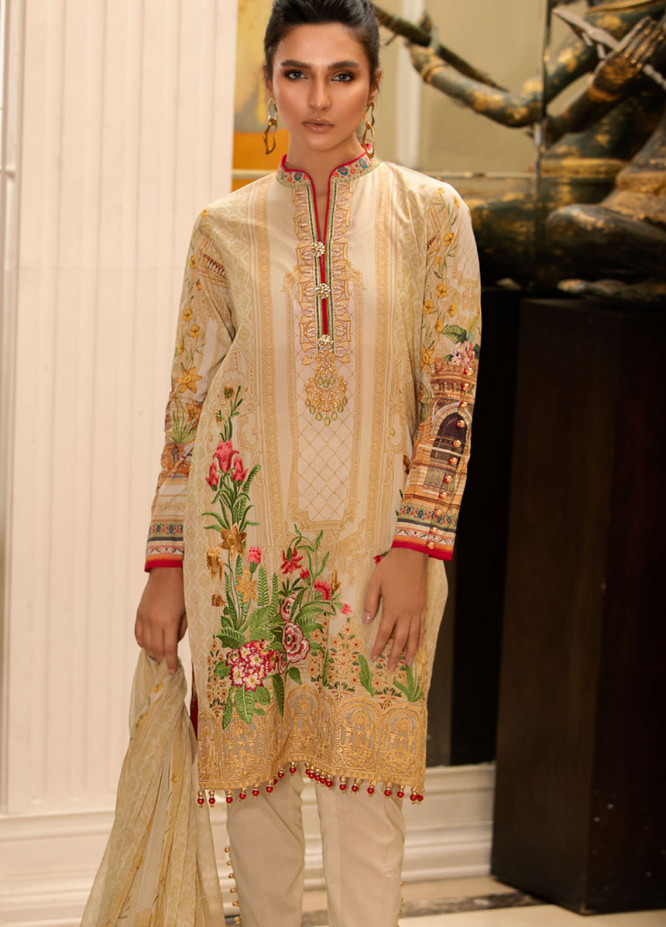 Malhar Embroidered Lawn Unstitched 3 Piece Suit ML19L 11 PEACE TEAL - Spring / Summer Collection