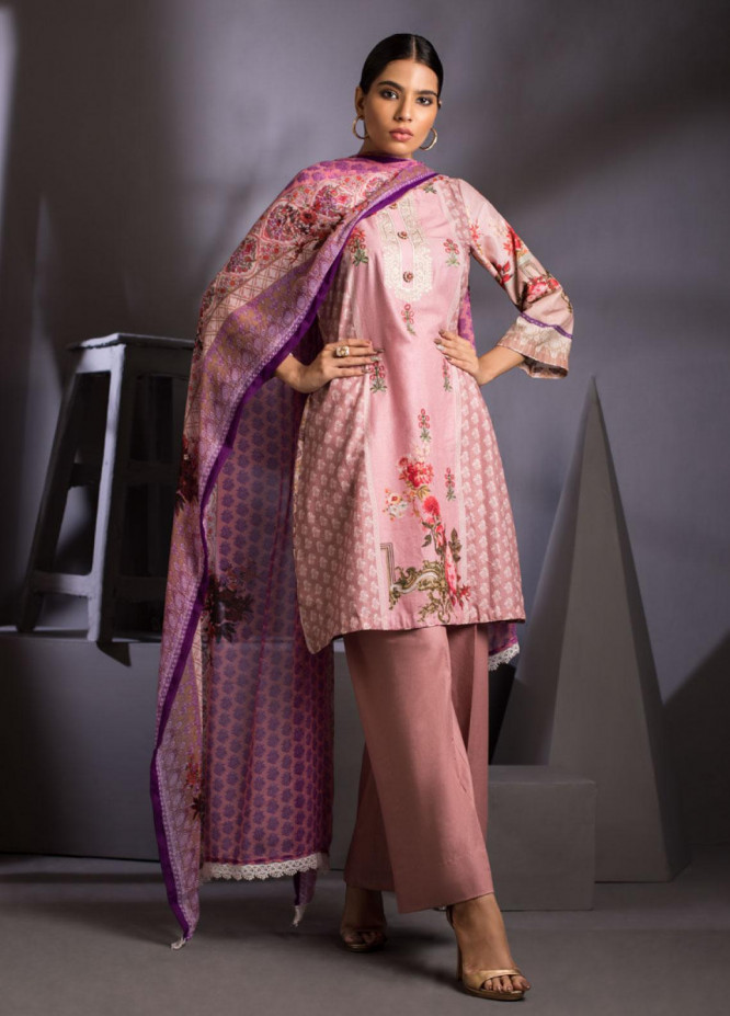ZS Textile Embroidered Lawn Unstitched 3 Piece Suit ZS20M  07 - Luxury Collection