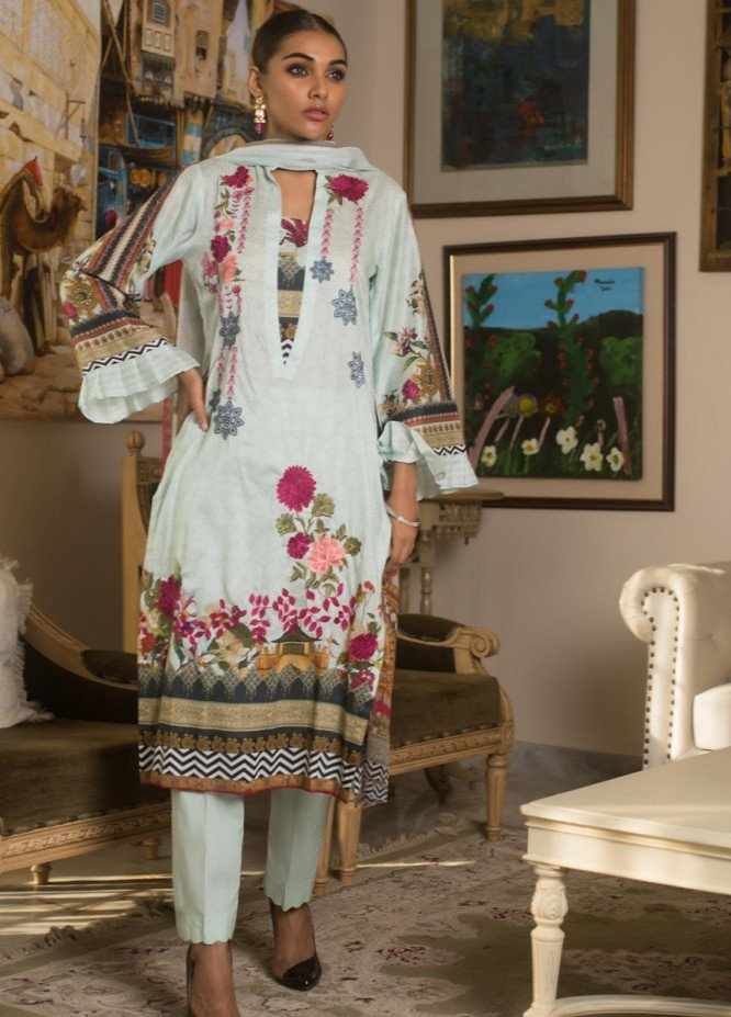 Malkah by ZS Textile Embroidered Lawn Unstitched 3 Piece Suit MLK19MS 10 - Mid Summer Collection