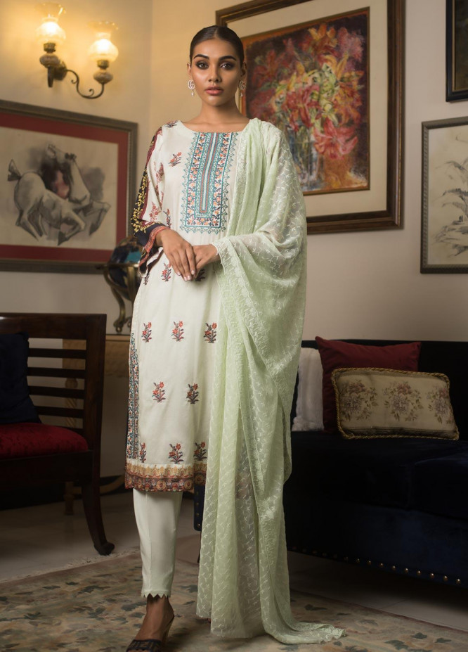 Malkah by ZS Textile Embroidered Lawn Unstitched 3 Piece Suit MLK19MS 8 - Mid Summer Collection