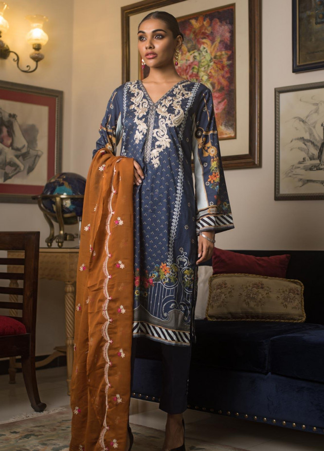Malkah by ZS Textile Embroidered Lawn Unstitched 3 Piece Suit MLK19MS 9 - Mid Summer Collection