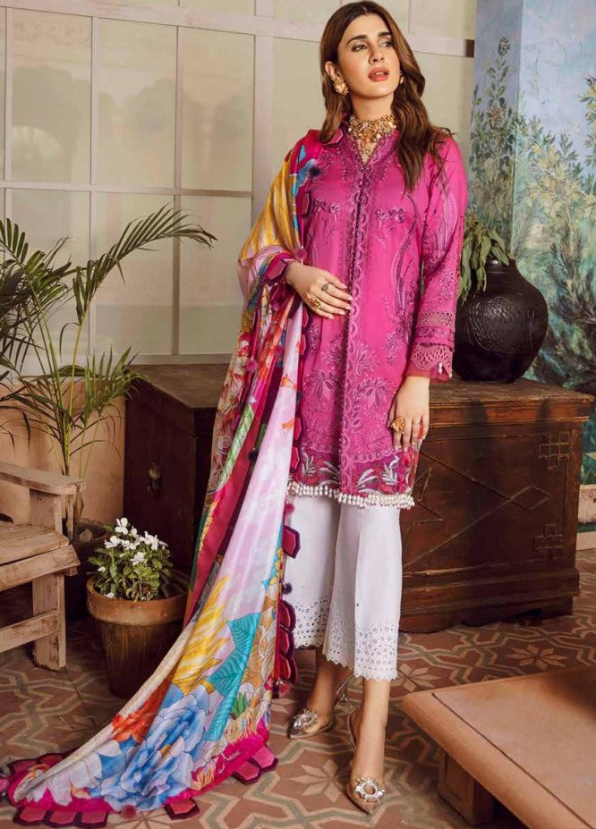 Maryam Hussain Embroidered Lawn Unstitched 3 Piece Suit MRH20F D-10 FUSHIA - Festive Collection