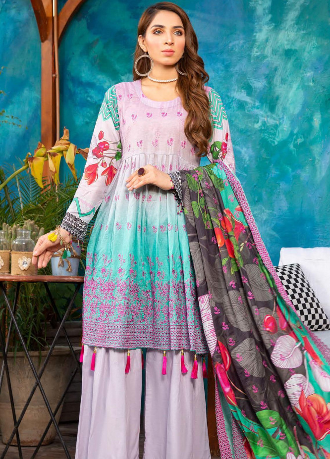 Mashal by Riaz Arts Embroidered Lawn Unstitched 3 Piece Suit RA20M 009 - Spring / Summer Collection