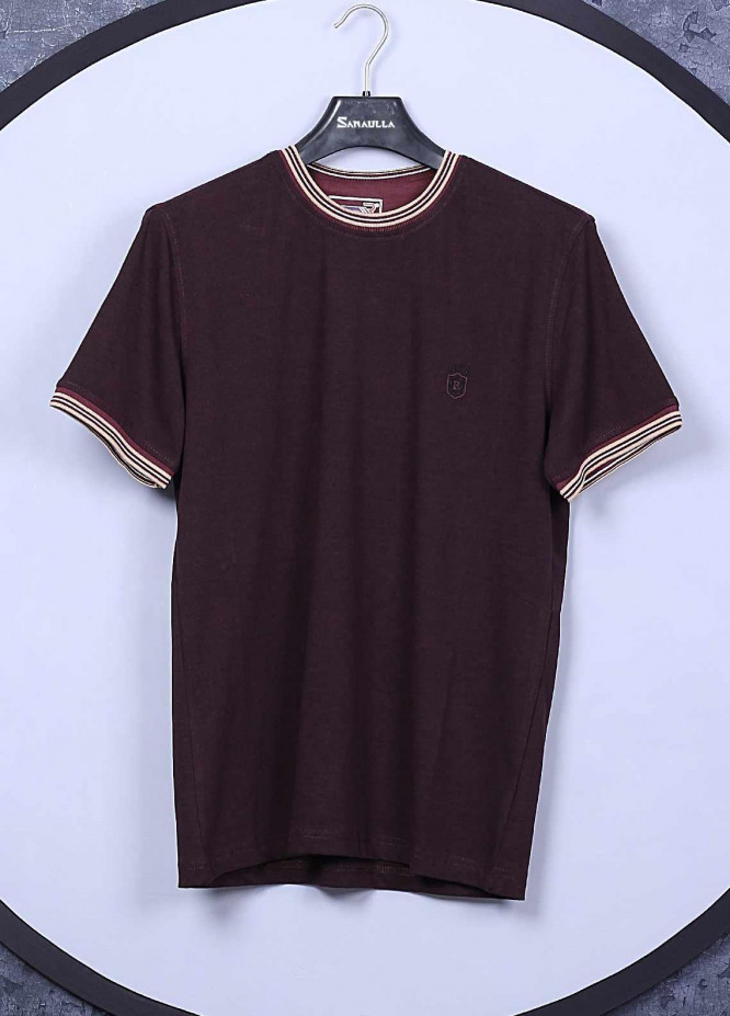 Sanaulla Exclusive Range Cotton Casual T-Shirts for Mens -  5309 Maroon