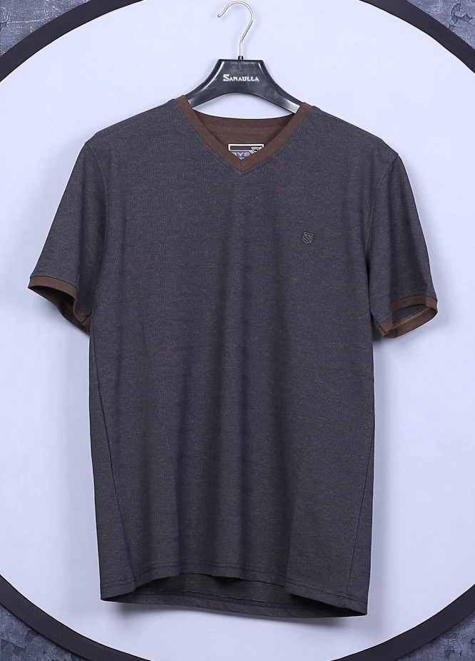 Sanaulla Exclusive Range Cotton Casual T-Shirts for Mens -  5407 Brown