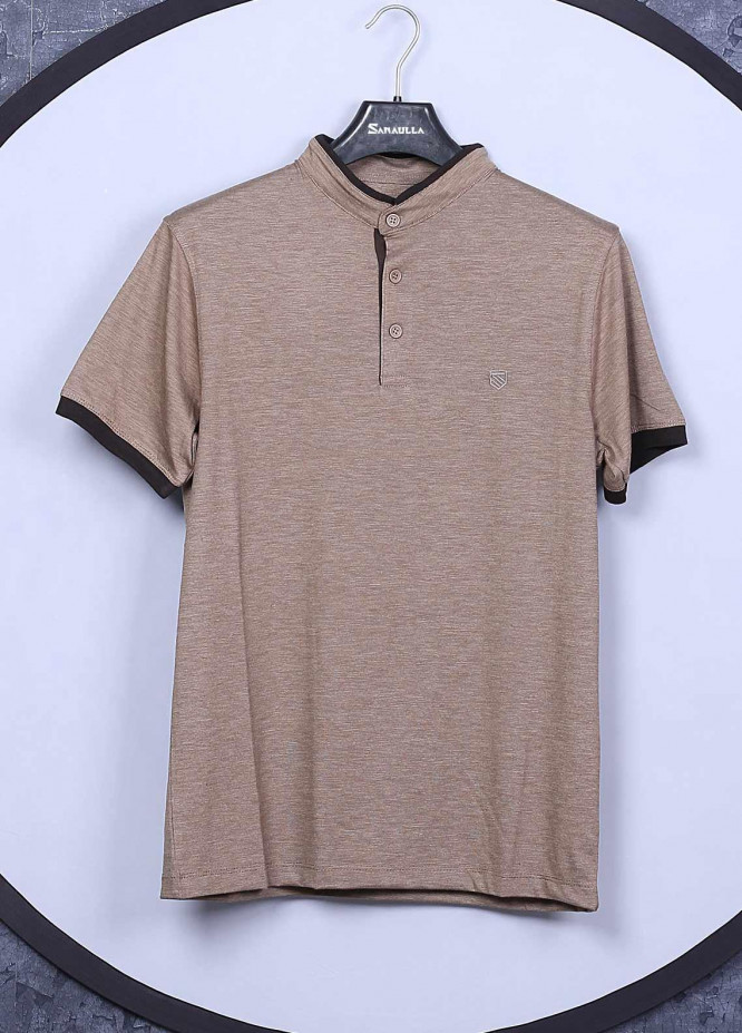 Sanaulla Exclusive Range Cotton Casual T-Shirts for Mens -  5565 Light Brown