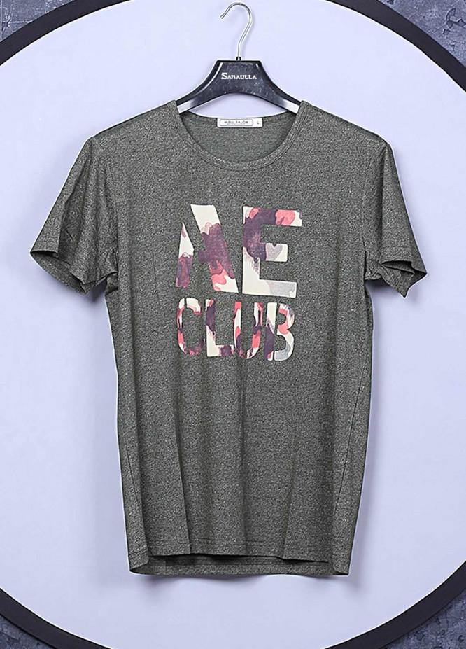 Sanaulla Exclusive Range Cotton Casual Mens T-Shirts -  66822 Dark Grey