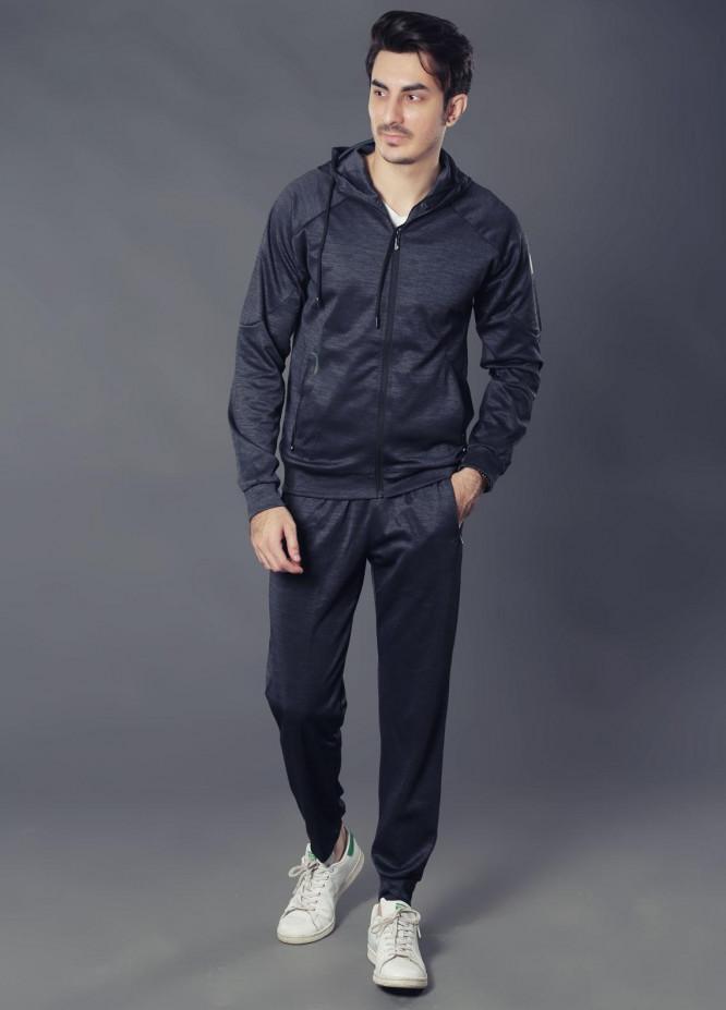Sanaulla Exclusive Range Premium Jersey Track Suits for Men -  19-7768 Black