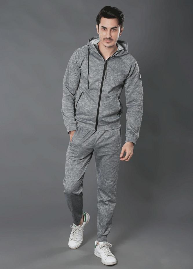 Sanaulla Exclusive Range Premium Jersey Track Men Suits -  19-7768 Grey