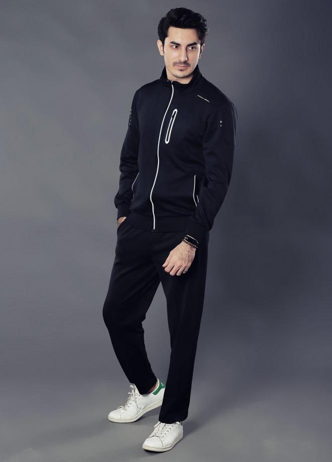 Sanaulla Exclusive Range Premium Jersey Track Men Suits -  19-9032 Black