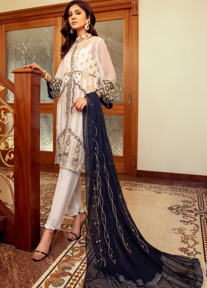Meraki by ZS Textiles Embroidered Chiffon Unstitched 3 Piece Suit ZS21M 04 - Luxury Collection
