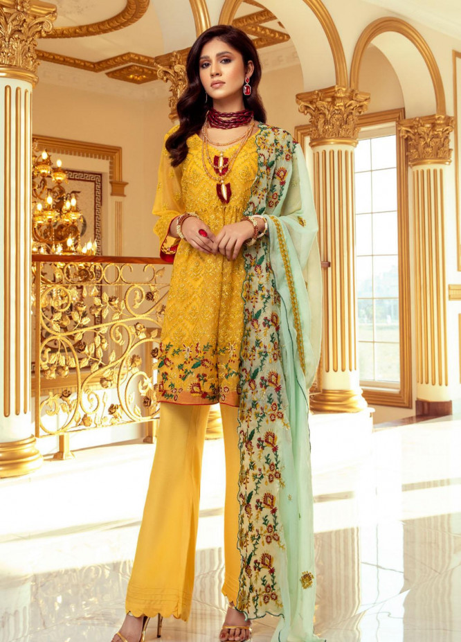 Meraki by ZS Textiles Embroidered Chiffon Unstitched 3 Piece Suit ZS21M 06 - Luxury Collection
