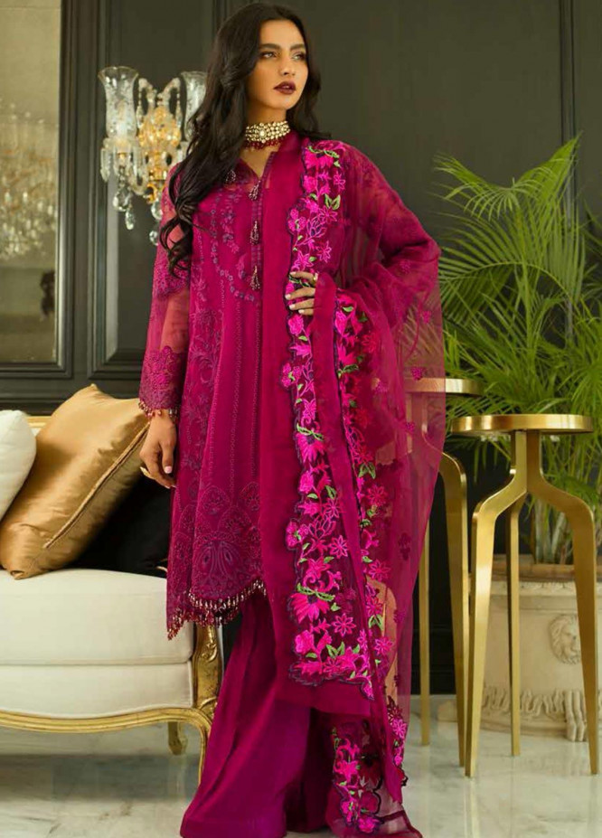 Mina Hasan Embroidered Organza Unstitched 3 Piece Suit MH20C 3 - Luxury Collection