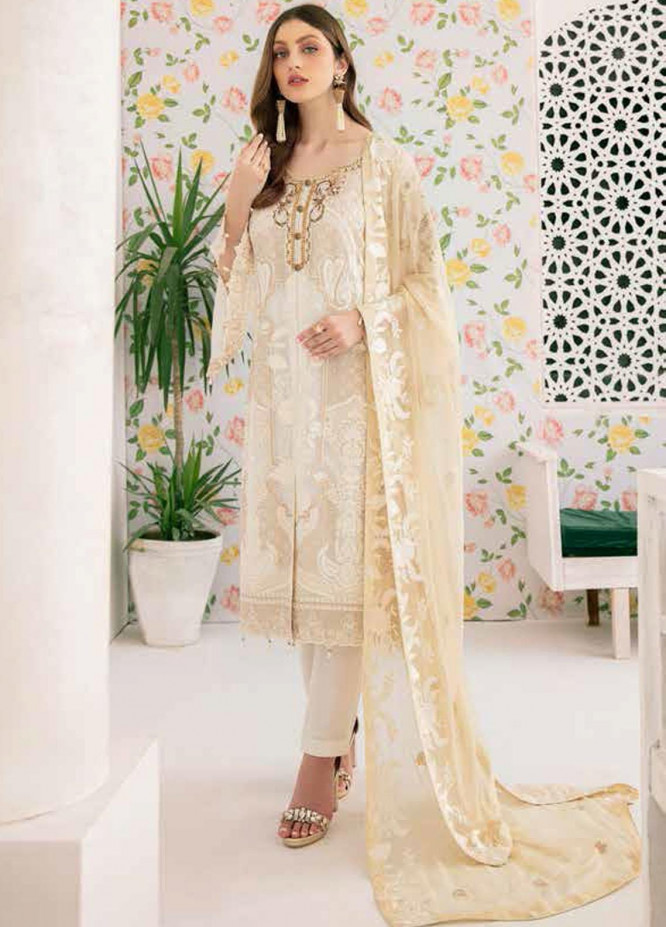 Minhal by Ramsha Embroidered Chiffon Unstitched 3 Piece Suit RSH20M 307 - Luxury Collection