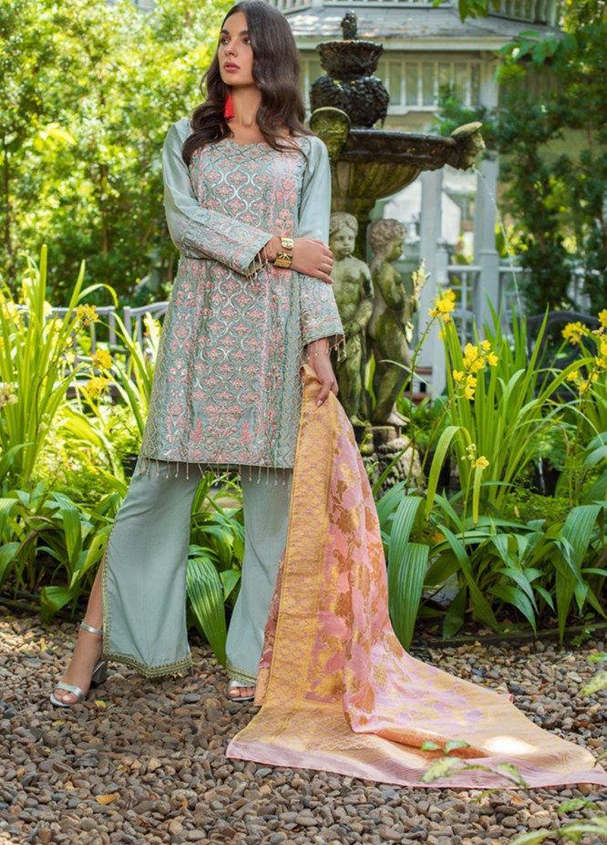 Mirha by ZS Textile Embroidered Charmeuse Unstitched 3 Piece Suit MZS19CH 2 - Winter Collection