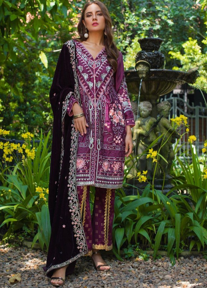 Mirha by ZS Textile Embroidered Charmeuse Unstitched 3 Piece Suit MZS19CH 7 - Winter Collection