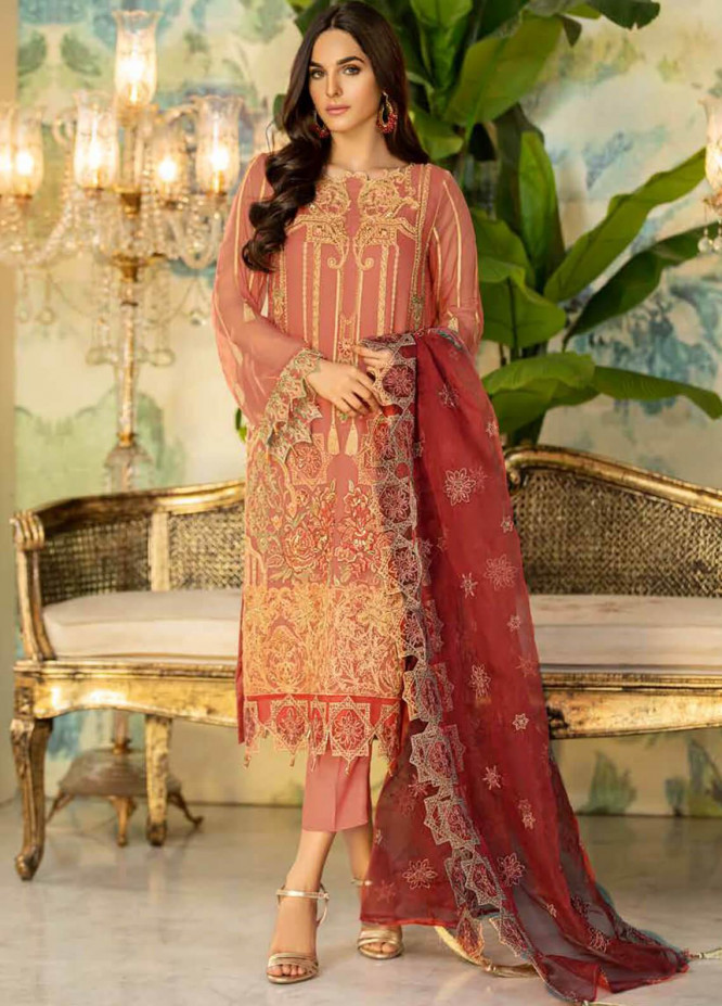 Motifz Embroidered Chiffon Unstitched 3 Piece Suit MT20C MWU02335-999 Sweet pink - Luxury Collection