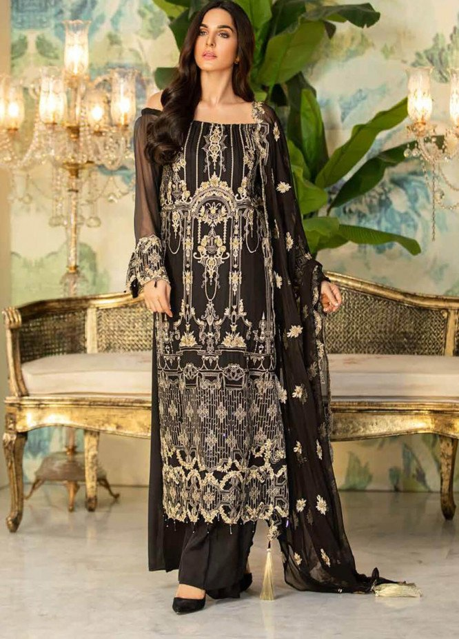 Motifz Embroidered Chiffon Unstitched 3 Piece Suit MT20C MWU02336-999 Pirate Black - Luxury Collection