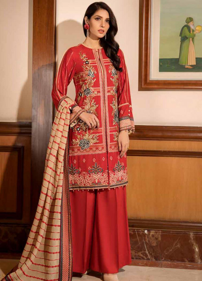 Motifz Embroidered Linen Unstitched 3 Piece Suit MT19PE 2370 Sylvan Tangerine - Premium Collection