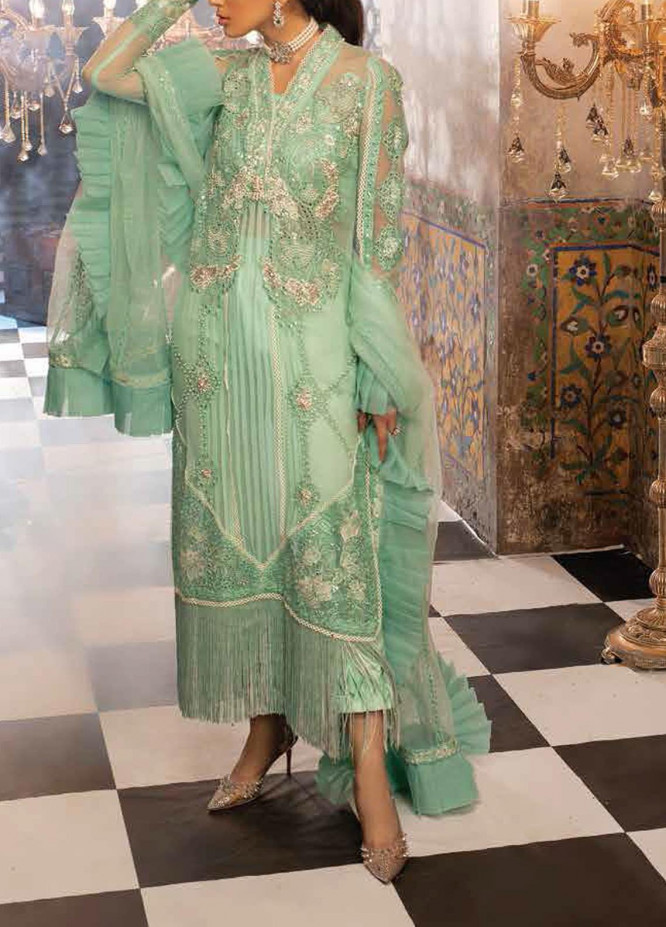 Mushq Embroidered Chiffon Unstitched 3 Piece Suit MQ20TL 8 MINT MELODY - Luxury Collection