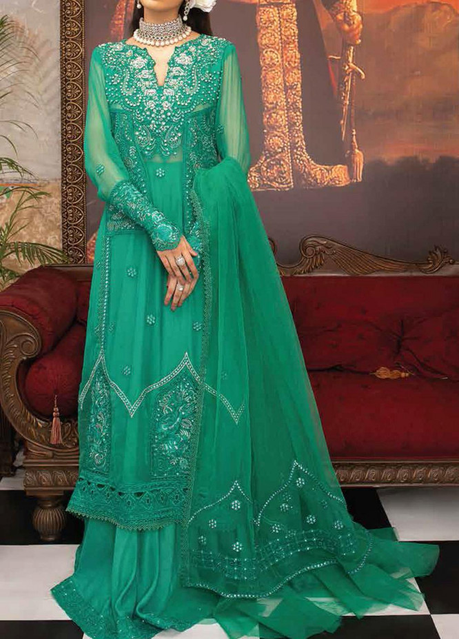 Mushq Embroidered Chiffon Unstitched 3 Piece Suit MQ20TL 9 CELESTE - Luxury Collection