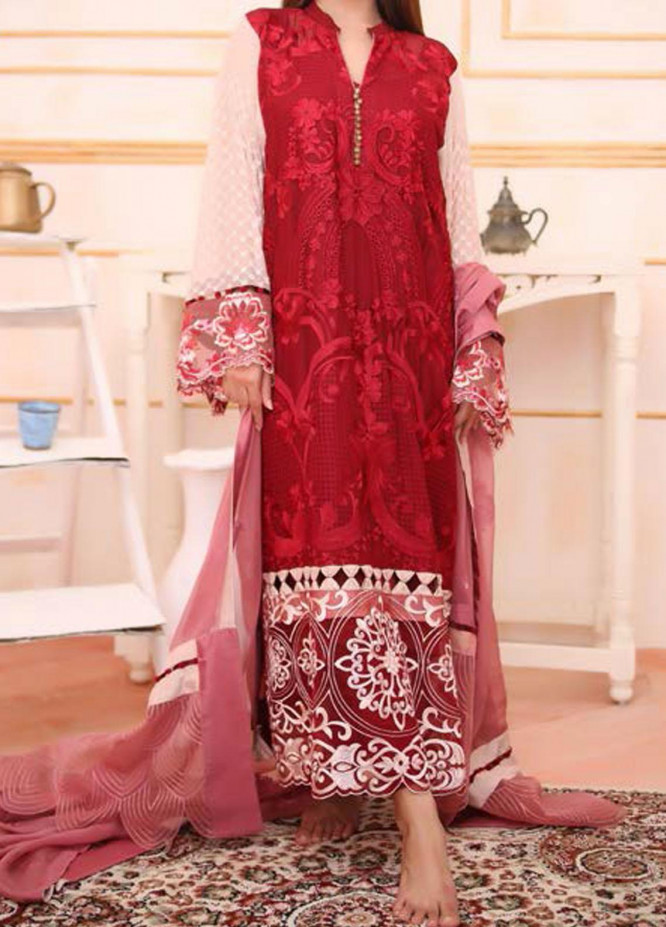 Noor-e-Fizzata by Rub Nawaz Embroidered Chiffon Unstitched 3 Piece Suit RN20NF F004 - Luxury Collection