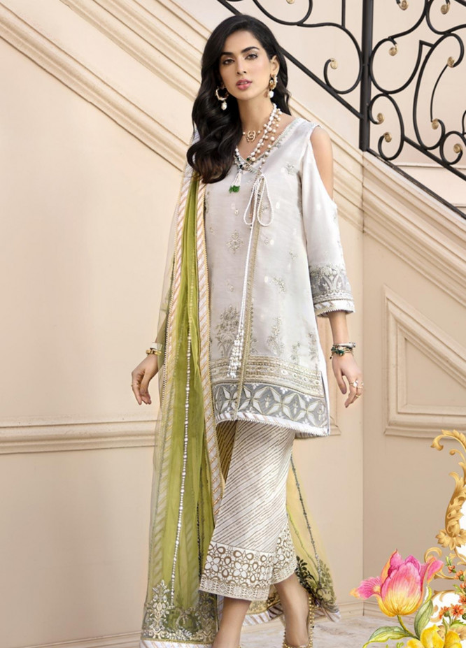 Noor by Saadia Asad Embroidered Jacquard Unstitched 3 Piece Suit SA20NL D1 A - Luxury Collection