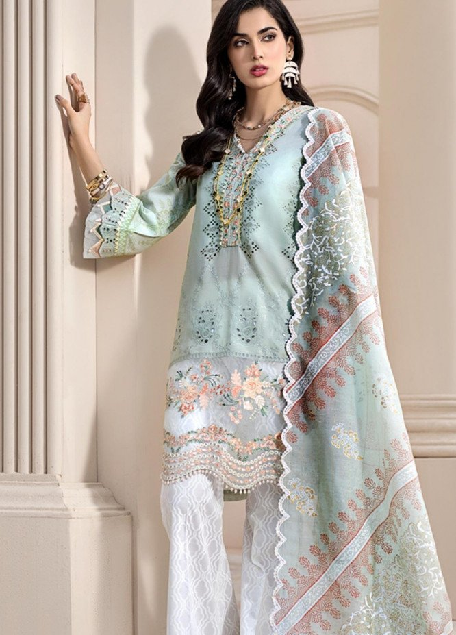 Noor by Saadia Asad Embroidered Lawn Unstitched 3 Piece Suit SA20NL D3 B - Luxury Collection